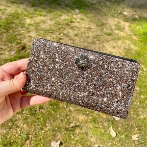 Kate Spade Glitter bi-fold wallet / Rose Gold